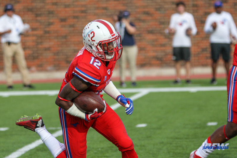 DALLAS, TX - SEPTEMBER 30: Southern Methodist Mustangs defensive back Kevin Johnson (12) returns a kick during the game between SMU and UConn on September 30, 2017, at Gerald J. Ford Stadium in Dallas, TX. (Photo by George Walker/Icon Sportswire)