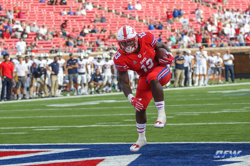DALLAS, TX - SEPTEMBER 30: Southern Methodist Mustangs running back Ke'Mon Freeman (13) scores a touchdown during the game between SMU and UConn on September 30, 2017, at Gerald J. Ford Stadium in Dallas, TX. (Photo by George Walker/Icon Sportswire)
