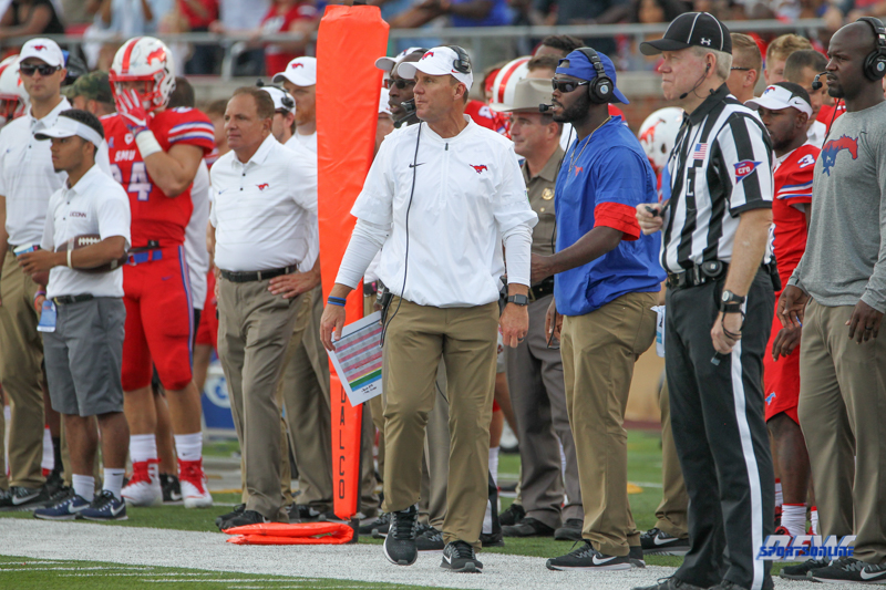 DALLAS, TX - SEPTEMBER 30: Southern Methodist Mustangs head coach Chad Morris walks the sideline during the game between SMU and UConn on September 30, 2017, at Gerald J. Ford Stadium in Dallas, TX. (Photo by George Walker/Icon Sportswire)