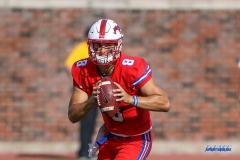 DALLAS, TX - SEPTEMBER 30: Southern Methodist Mustangs quarterback Ben Hicks (8) during the game between SMU and UConn on September 30, 2017, at Gerald J. Ford Stadium in Dallas, TX. (Photo by George Walker/DFWsportsonline)