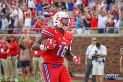 DALLAS, TX - SEPTEMBER 30: Southern Methodist Mustangs wide receiver Courtland Sutton (16) scores a touchdown during the game between SMU and UConn on September 30, 2017, at Gerald J. Ford Stadium in Dallas, TX. (Photo by George Walker/DFWsportsonline)