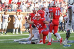 DALLAS, TX - SEPTEMBER 30: Southern Methodist Mustangs defensive end Mason Gentry (93) sacks Connecticut Huskies quarterback Bryant Shirreffs (4) during the game between SMU and UConn on September 30, 2017, at Gerald J. Ford Stadium in Dallas, TX. (Photo by George Walker/Icon Sportswire)
