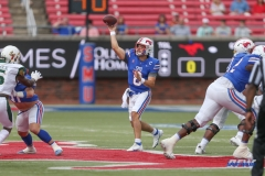 DALLAS, TX - OCTOBER 02: Southern Methodist Mustangs quarterback Tanner Mordecai (8) passes during the game between SMU and USF on October 2, 2021 at Gerald J. Ford Stadium in Dallas, TX. (Photo by George Walker/Icon Sportswire)