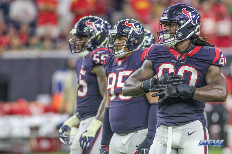 HOUSTON, TX - OCTOBER 08: Houston Texans defensive line during the game between the Houston Texans and Kansas City Chiefs on October 8, 2017, at NRG Stadium in Houston, TX. (Photo by George Walker/DFWsportsonline)