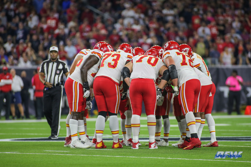 HOUSTON, TX - OCTOBER 08: Kansas City Chiefs offense huddles during the game between the Houston Texans and Kansas City Chiefs on October 8, 2017, at NRG Stadium in Houston, TX. (Photo by George Walker/DFWsportsonline)