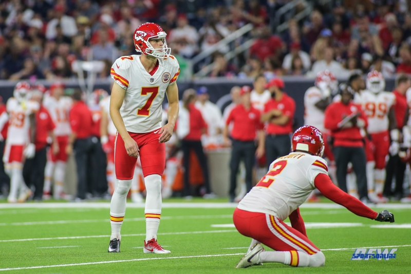HOUSTON, TX - OCTOBER 08: Kansas City Chiefs kicker Harrison Butker (7) during the game between the Houston Texans and Kansas City Chiefs on October 8, 2017, at NRG Stadium in Houston, TX. (Photo by George Walker/DFWsportsonline)