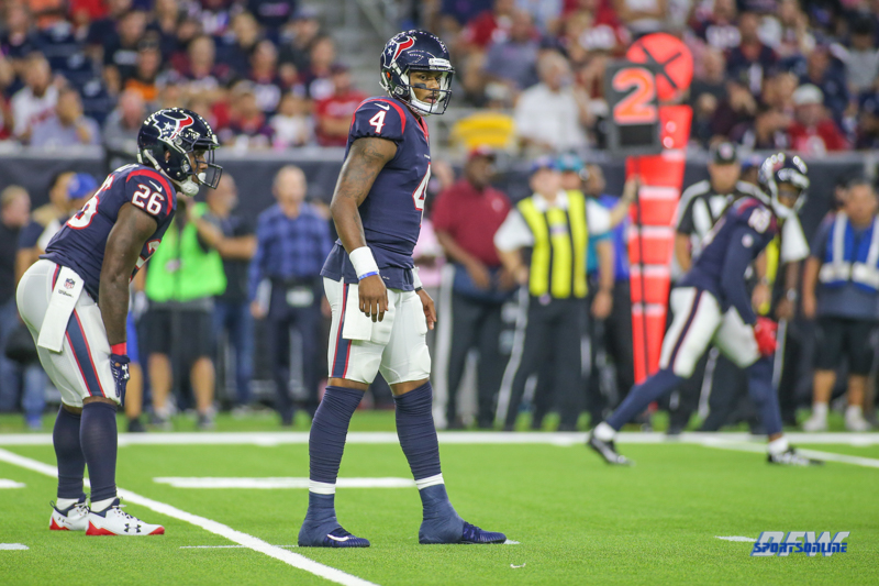 HOUSTON, TX - OCTOBER 08: Houston Texans quarterback Deshaun Watson (4) during the game between the Houston Texans and Kansas City Chiefs on October 8, 2017, at NRG Stadium in Houston, TX. (Photo by George Walker/DFWsportsonline)