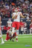 HOUSTON, TX - OCTOBER 08: Kansas City Chiefs kicker Harrison Butker (7) kicks a field goal during the game between the Houston Texans and Kansas City Chiefs on October 8, 2017, at NRG Stadium in Houston, TX. (Photo by George Walker/DFWsportsonline)
