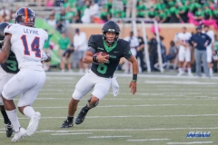 DENTON, TX - OCTOBER 14: North Texas Mean Green quarterback Mason Fine (6) scrambles during the game between the North Texas Mean Green and UTSA Roadrunners on October 14, 2017, at Apogee Stadium in Denton, Texas. (Photo by George Walker/DFWsportsonline)