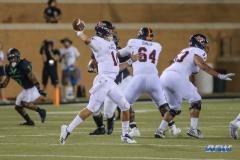 DENTON, TX - OCTOBER 14: UTSA Roadrunners quarterback Dalton Sturm (14) throws during the game between the North Texas Mean Green and UTSA Roadrunners on October 14, 2017, at Apogee Stadium in Denton, Texas. (Photo by George Walker/DFWsportsonline)