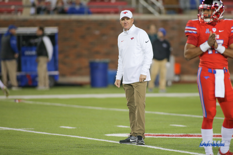 DALLAS, TX - OCTOBER 27: Southern Methodist Mustangs head coach Chad Morris looks on during the game between SMU and Tulsa on October 27, 2017, at Gerald J. Ford Stadium in Dallas, TX. (Photo by George Walker/DFWsportsonline)