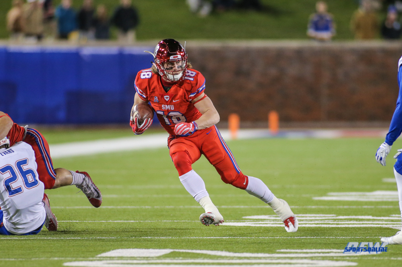 DALLAS, TX - OCTOBER 27: Southern Methodist Mustangs wide receiver Trey Quinn (18) during the game between SMU and Tulsa on October 27, 2017, at Gerald J. Ford Stadium in Dallas, TX. (Photo by George Walker/DFWsportsonline)
