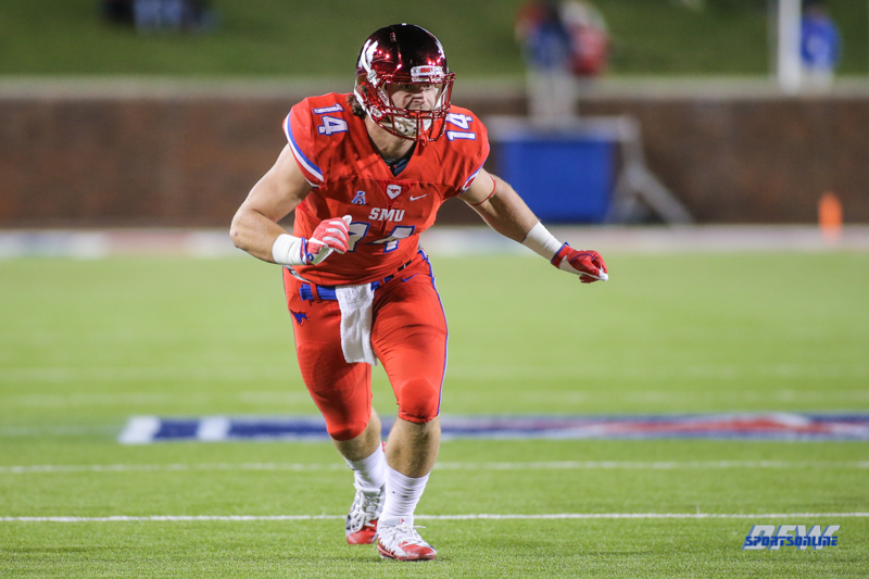 DALLAS, TX - OCTOBER 27: Southern Methodist Mustangs tight end Ryan Becker (14) during the game between SMU and Tulsa on October 27, 2017, at Gerald J. Ford Stadium in Dallas, TX. (Photo by George Walker/DFWsportsonline)