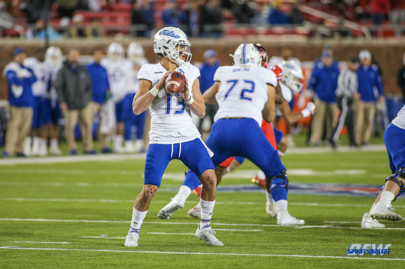 DALLAS, TX - OCTOBER 27: Tulsa Golden Hurricane quarterback Luke Skipper (13) during the game between SMU and Tulsa on October 27, 2017, at Gerald J. Ford Stadium in Dallas, TX. (Photo by George Walker/DFWsportsonline)