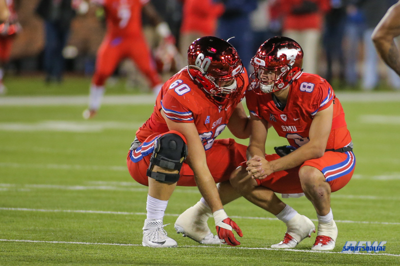 DALLAS, TX - OCTOBER 27: Southern Methodist Mustangs offensive lineman Will Hopkins (60) and Southern Methodist Mustangs quarterback Ben Hicks (8) wait on time to expire during the game between SMU and Tulsa on October 27, 2017, at Gerald J. Ford Stadium in Dallas, TX. (Photo by George Walker/DFWsportsonline)