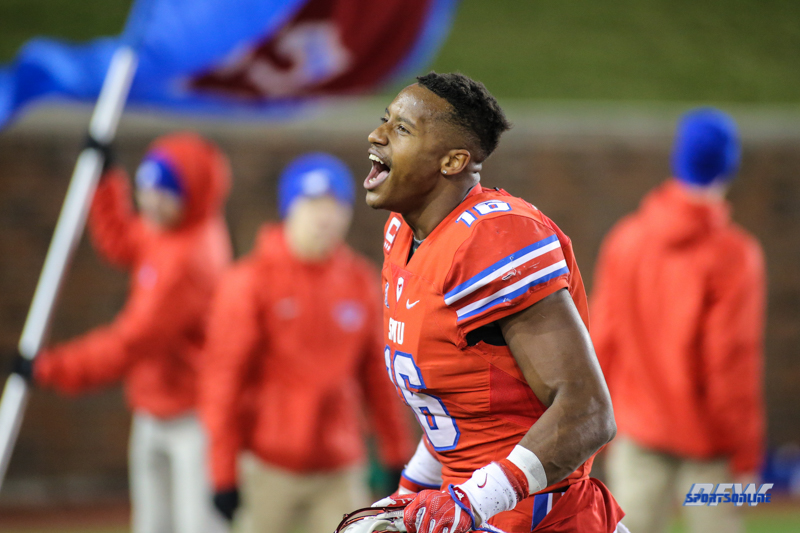 DALLAS, TX - OCTOBER 27: Southern Methodist Mustangs wide receiver Courtland Sutton (16) celebrates after the game between SMU and Tulsa on October 27, 2017, at Gerald J. Ford Stadium in Dallas, TX. (Photo by George Walker/DFWsportsonline)