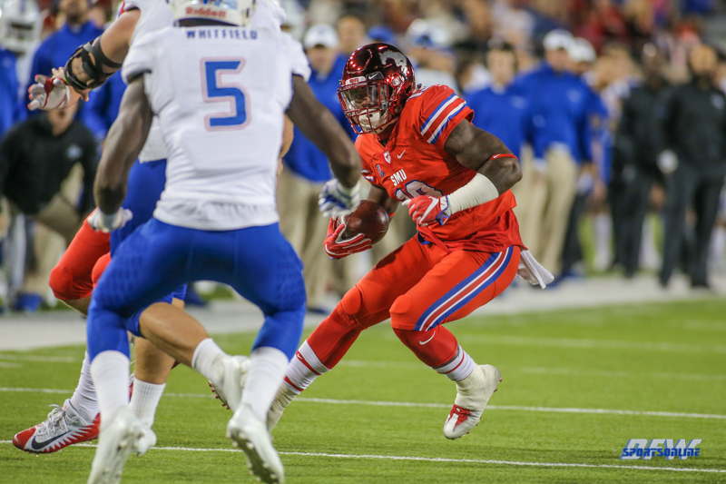 DALLAS, TX - OCTOBER 27: Southern Methodist Mustangs running back Ke'Mon Freeman (13) runs during the game between SMU and Tulsa on October 27, 2017, at Gerald J. Ford Stadium in Dallas, TX. (Photo by George Walker/Icon Sportswire)