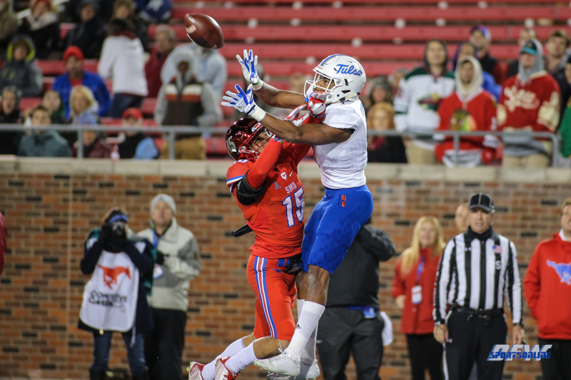 DALLAS, TX - OCTOBER 27: Tulsa Golden Hurricane wide receiver Josh Stewart (1) goes up for a catch against Southern Methodist Mustangs defensive back Jordan Wyatt (15) during the game between SMU and Tulsa on October 27, 2017, at Gerald J. Ford Stadium in Dallas, TX. (Photo by George Walker/Icon Sportswire)