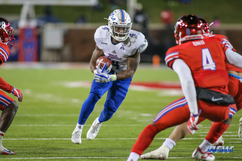 DALLAS, TX - OCTOBER 27: Tulsa Golden Hurricane running back D'Angelo Brewer (4) runs toward the end zone during the game between SMU and Tulsa on October 27, 2017, at Gerald J. Ford Stadium in Dallas, TX. (Photo by George Walker/Icon Sportswire)