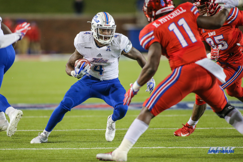 DALLAS, TX - OCTOBER 27: Tulsa Golden Hurricane running back D'Angelo Brewer (4) looks for running room during the game between SMU and Tulsa on October 27, 2017, at Gerald J. Ford Stadium in Dallas, TX. (Photo by George Walker/Icon Sportswire)