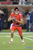 DALLAS, TX - OCTOBER 27: Southern Methodist Mustangs quarterback Ben Hicks (8) rolls out to pass during the game between SMU and Tulsa on October 27, 2017, at Gerald J. Ford Stadium in Dallas, TX. (Photo by George Walker/Icon Sportswire)