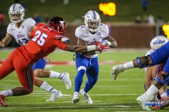 DALLAS, TX - OCTOBER 27: Tulsa Golden Hurricane running back D'Angelo Brewer (4) runs to the end zone during the game between SMU and Tulsa on October 27, 2017, at Gerald J. Ford Stadium in Dallas, TX. (Photo by George Walker/Icon Sportswire)