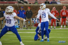 DALLAS, TX - OCTOBER 27: Tulsa Golden Hurricane place kicker Redford Jones (19) kicks a field goal during the game between SMU and Tulsa on October 27, 2017, at Gerald J. Ford Stadium in Dallas, TX. (Photo by George Walker/Icon Sportswire)