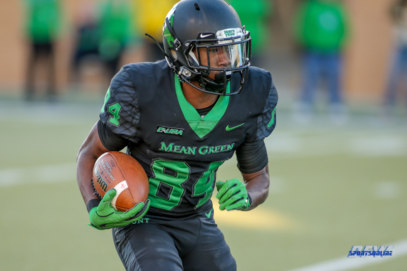 DENTON, TX - OCTOBER 28: North Texas Mean Green wide receiver Jaelon Darden (84) during the game between the North Texas Mean Green and Old Dominion Monarchs on October 28, 2017, at Apogee Stadium in Denton, Texas. (Photo by George Walker/DFWsportsonline)