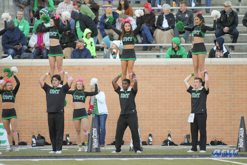 DENTON, TX - OCTOBER 28: North Texas cheerleaders during the game between the North Texas Mean Green and Old Dominion Monarchs on October 28, 2017, at Apogee Stadium in Denton, Texas. (Photo by George Walker/DFWsportsonline)