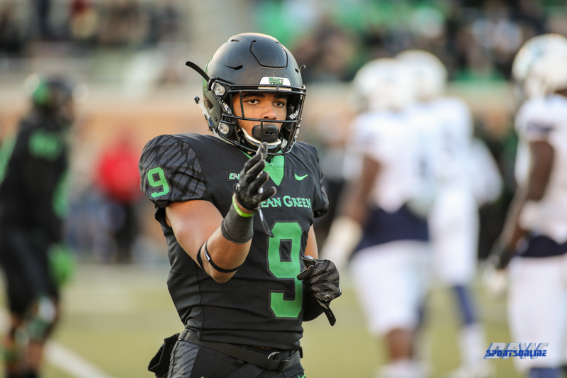 DENTON, TX - OCTOBER 28: North Texas Mean Green wide receiver Jalen Guyton (9) during the game between the North Texas Mean Green and Old Dominion Monarchs on October 28, 2017, at Apogee Stadium in Denton, Texas. (Photo by George Walker/DFWsportsonline)
