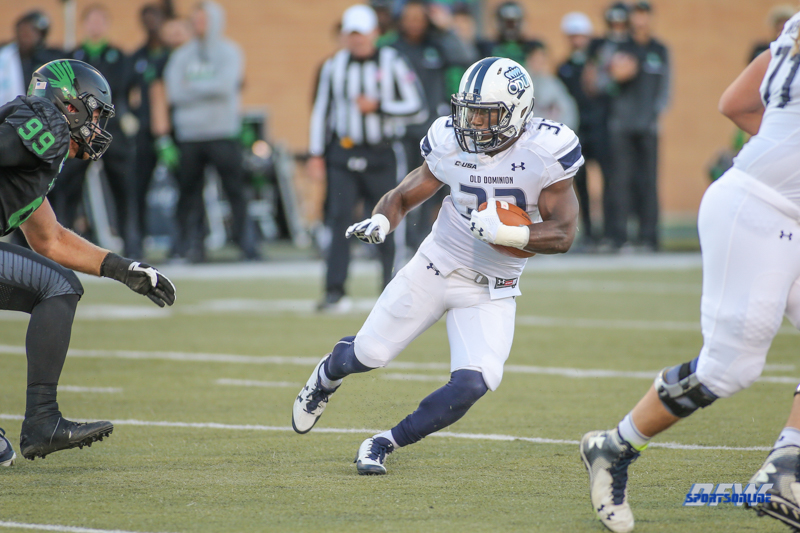 DENTON, TX - OCTOBER 28: Old Dominion Monarchs running back Ray Lawry (33) during the game between the North Texas Mean Green and Old Dominion Monarchs on October 28, 2017, at Apogee Stadium in Denton, Texas. (Photo by George Walker/DFWsportsonline)