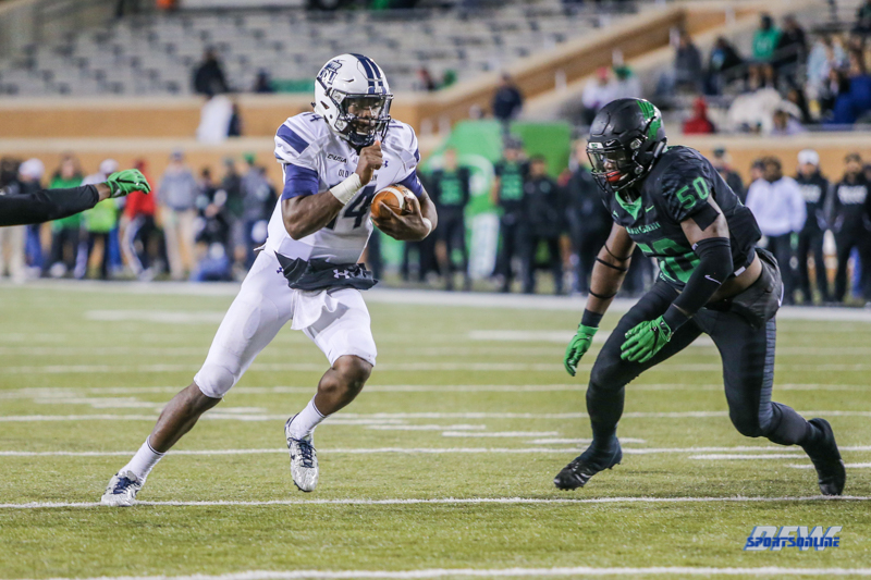 DENTON, TX - OCTOBER 28: Old Dominion Monarchs quarterback Steven Williams (14) runs to the end zone during the game between the North Texas Mean Green and Old Dominion Monarchs on October 28, 2017, at Apogee Stadium in Denton, Texas. (Photo by George Walker/DFWsportsonline)