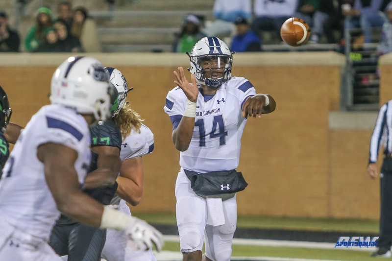 DENTON, TX - OCTOBER 28: Old Dominion Monarchs quarterback Steven Williams (14) passes during the game between the North Texas Mean Green and Old Dominion Monarchs on October 28, 2017, at Apogee Stadium in Denton, Texas. (Photo by George Walker/DFWsportsonline)