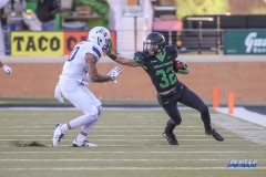 DENTON, TX - OCTOBER 28: North Texas Mean Green wide receiver Michael Lawrence (32) during the game between the North Texas Mean Green and Old Dominion Monarchs on October 28, 2017, at Apogee Stadium in Denton, Texas. (Photo by George Walker/DFWsportsonline)