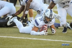 DENTON, TX - OCTOBER 28: Old Dominion Monarchs safety Sean Carter (31) recovers a fumble during the game between the North Texas Mean Green and Old Dominion Monarchs on October 28, 2017, at Apogee Stadium in Denton, Texas. (Photo by George Walker/DFWsportsonline)