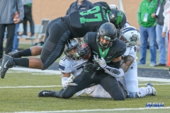 DENTON, TX - OCTOBER 28: North Texas Mean Green wide receiver Jalen Guyton (9) is down short of the goal line during the game between the North Texas Mean Green and Old Dominion Monarchs on October 28, 2017, at Apogee Stadium in Denton, Texas. (Photo by George Walker/DFWsportsonline)