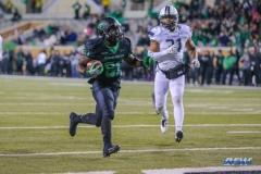 DENTON, TX - OCTOBER 28: North Texas Mean Green running back Nic Smith (21) runs into the end zone for a touchdown during the game between the North Texas Mean Green and Old Dominion Monarchs on October 28, 2017, at Apogee Stadium in Denton, Texas. (Photo by George Walker/DFWsportsonline)