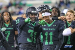 DENTON, TX - OCTOBER 28: North Texas Mean Green safety Makyle Sanders (31) and North Texas Mean Green defensive back Cam Johnson (11) during the game between the North Texas Mean Green and Old Dominion Monarchs on October 28, 2017, at Apogee Stadium in Denton, Texas. (Photo by George Walker/DFWsportsonline)