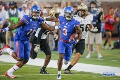 DALLAS, TX - NOVEMBER 04: Southern Methodist Mustangs wide receiver Courtland Sutton (16) blocks as Southern Methodist Mustangs wide receiver James Proche (3) runs into the end zone for a touchdown during the game between SMU and UCF on November 4, 2017, at Gerald J. Ford Stadium in Dallas, TX. (Photo by George Walker/Icon Sportswire)