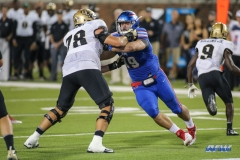 DALLAS, TX - NOVEMBER 04: Southern Methodist Mustangs defensive end Justin Lawler (99) battles UCF Knights offensive lineman Wyatt Miller (78) during the game between SMU and UCF on November 4, 2017, at Gerald J. Ford Stadium in Dallas, TX. (Photo by George Walker/Icon Sportswire)