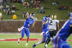DALLAS, TX - NOVEMBER 04: Southern Methodist Mustangs quarterback Ben Hicks (8) passes during the game between SMU and UCF on November 4, 2017, at Gerald J. Ford Stadium in Dallas, TX. (Photo by George Walker/Icon Sportswire)