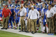 DALLAS, TX - NOVEMBER 04: Southern Methodist Mustangs head coach Chad Morris walks the sideline during the game between SMU and UCF on November 4, 2017, at Gerald J. Ford Stadium in Dallas, TX. (Photo by George Walker/Icon Sportswire)