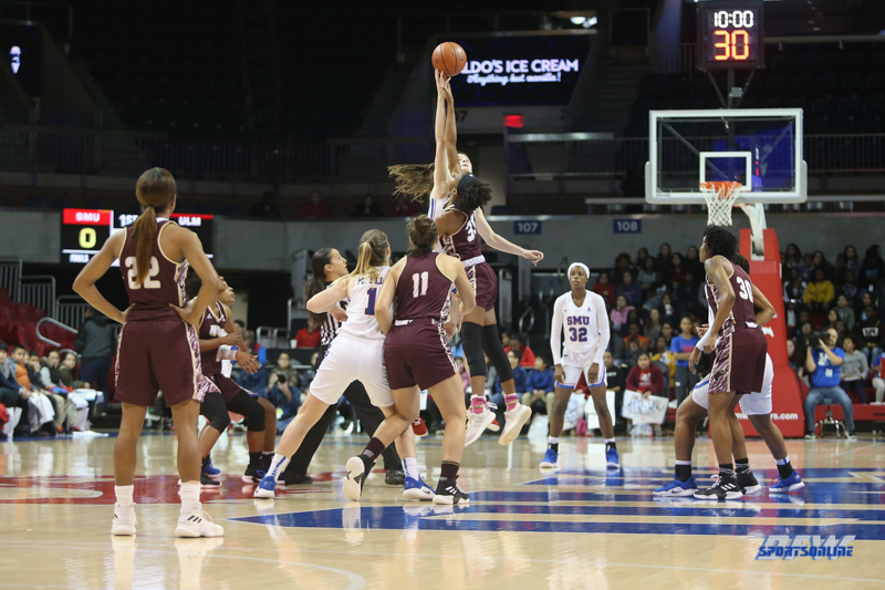 DALLAS, TX - NOVEMBER 09: Tip-off during the game between SMU and ULM on November 9, 2018 at Moody Coliseum in Dallas, TX. (Photo by George Walker/DFWsportsonline)