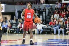 DALLAS, TX - NOVEMBER 10: Southern Methodist Mustangs guard Elijah Landrum (20) brings the ball up court during the men's basketball game between SMU and UMBC on November 10, 2017, at Moody Coliseum, in Dallas, TX. (Photo by George Walker/DFWsportsonline)