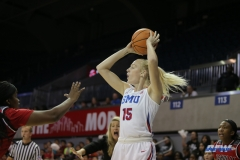 DALLAS, TX - NOVEMBER 10: Southern Methodist Mustangs forward Stephanie Collins (15) during the women's basketball game between SMU and Nicholls on November 10, 2017, at Moody Coliseum, in Dallas, TX. (Photo by George Walker/DFWsportsonline)