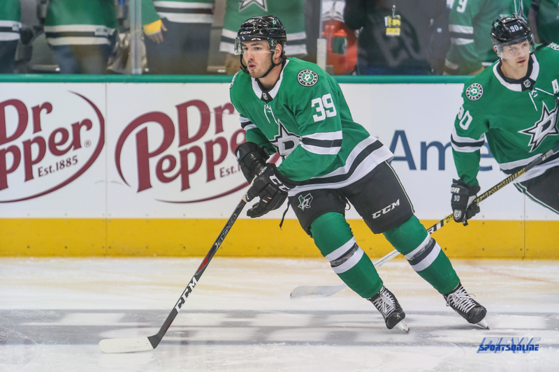 NOVEMBER 10: Dallas Stars Defenseman Joel Hanley (39) during the game between the Dallas Stars and Nashville Predators on November 10, 2018 at the American Airlines Center in Dallas, TX. (Photo by George Walker/DFWsportsonline)