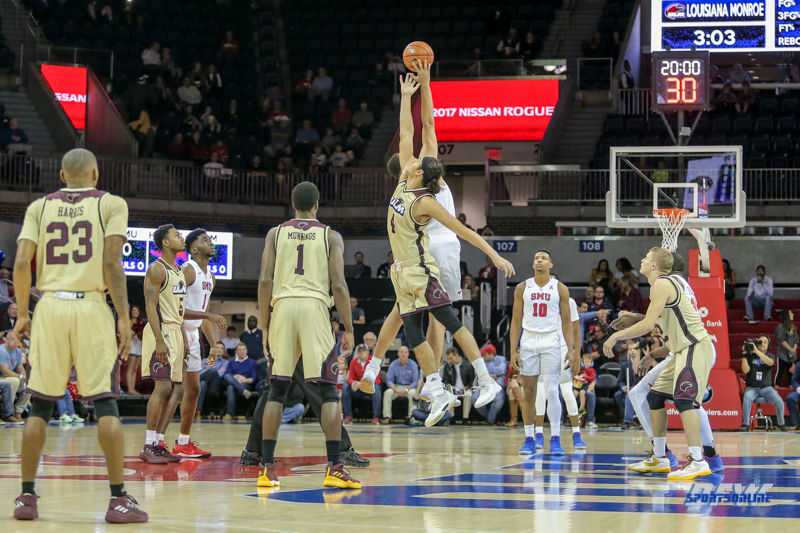 DALLAS, TX - NOVEMBER 12: Tip-off to start the men's basketball game between SMU and ULM on November 12, 2017, at Moody Coliseum, in Dallas, TX. (Photo by George Walker/DFWsportsonline)