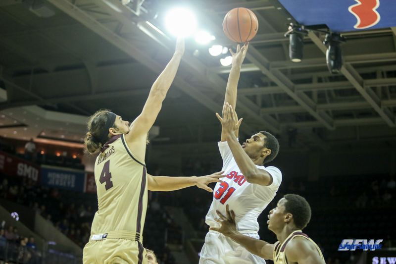 DALLAS, TX - NOVEMBER 12: Southern Methodist Mustangs guard Jimmy Whitt (31) goes to the basket during the men's basketball game between SMU and ULM on November 12, 2017, at Moody Coliseum, in Dallas, TX. (Photo by George Walker/DFWsportsonline)