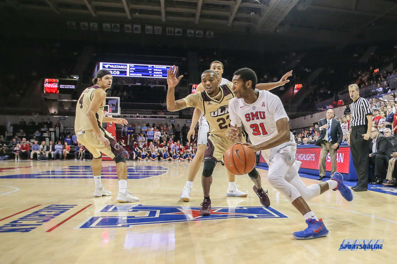DALLAS, TX - NOVEMBER 12: Southern Methodist Mustangs guard Jimmy Whitt (31) drives to the basket during the men's basketball game between SMU and ULM on November 12, 2017, at Moody Coliseum, in Dallas, TX. (Photo by George Walker/DFWsportsonline)