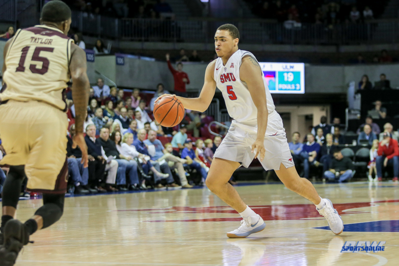 DALLAS, TX - NOVEMBER 12: Southern Methodist Mustangs forward Ethan Chargois (5) during the men's basketball game between SMU and ULM on November 12, 2017, at Moody Coliseum, in Dallas, TX. (Photo by George Walker/DFWsportsonline)